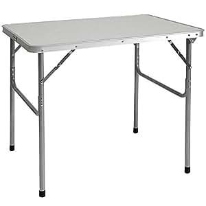 AMANKA Tavolino da pic-nic 80x60x70cm Tavolo da campeggio mercatino 3Kg in acciaio pieghevole formato valigia Grigio Chiaro
