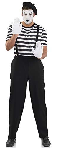 Für Kostüm Künstler Erwachsene - Fancy Me Herren Schwarz & Weiß Französisch Pantomime Künstler Zirkus Karneval Halloween Kostüm Kleid Outfit M-XL - Schwarz/weiß, X-Large