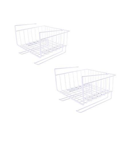 FENG-XIANG-HANG Schrank Ablagekorb, 2 Draht Ablagekorb Aufbewahrungsbox Küche, Büro, Küche, Bad, Schrank, Arbeitszimmer, Kinderzimmer (Farbe : Weiß) -