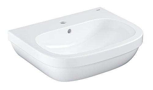 GROHE Euro Keramik, Waschtisch (Waschbecken, Waschplatz), 60 cm breit – Wandhängend, Weiß, mit Überlauf und Hahnloch, 39335000