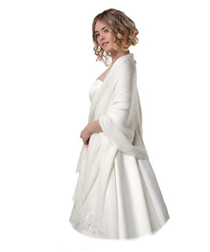 Poirier Strick Stola gestrickter Schal Ivory Blush Brautjacke Jacke Poncho Tuch Braut Hochzeit Brautkleid Strickjacke (Ivory)