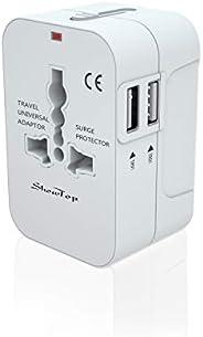 Travel Adapter,ShuttleLock Power Plug Adapter International Travel 4 USB Ports Work for 150+ Countries 220 Vol