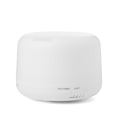 FOXAS Difusor de Aromas 300ml Humidificador Ultrasónico Aromaterapia Difusor de Aceites Esenciales Difusor de Funcionamiento Luz LED de 7 Colores Mejorar Aire en Invierno y Ambiente en Casa