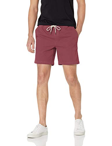 Baumwoll-pull-on Shorts (Goodthreads 7 Inch Inseam Pull-On Stretch Canvas flat-front-shorts, Burgundy, US (EU XS))