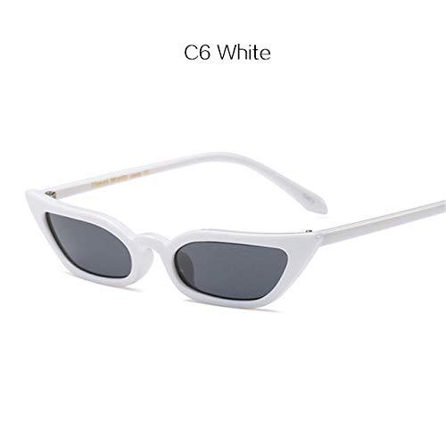 FBNSJA Vintage Cat Eye Kleine Rahmen -Sonnenbrille -Frauen -Marken -Entwerfer 2018 Neue weibliche Sun -Glas -Cateye Kühle Sunglass EyewearsWeiss