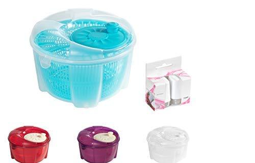 Mabel Home Salatschleuder, Salatschleuder und Mixer, 5,5 Quart, Gemüseschleuder - Extra Salz- und Pfefferstreuer inkl. blau -