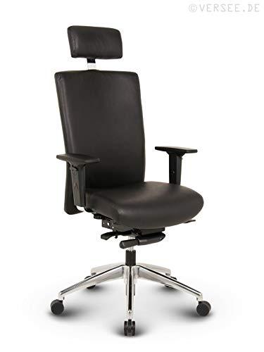 Versee Profi Bürostuhl Chefsessel Terox Echt-Leder schwarz mit Kopfstütze, Drehstuhl, Bürodrehstuhl, Schreibtischstuhl, Chefstuhl, Ergonomisch, hohe Rückenlehne, mit Armlehnen, auf Rollen, mit Polsterung, Höhenverstellbar, Wippfunktion, hochwertige Verarbeitung, massives Metall-gestell, Büro Sessel, Stuhl, 150 kg belastbar