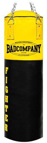 Bad Company Boxsack inkl. Heavy Duty Vierpunkt-Stahlkette I Vinyl Punching Bag, gefüllt I 100 x 35 cm - Schwarz/Gelb