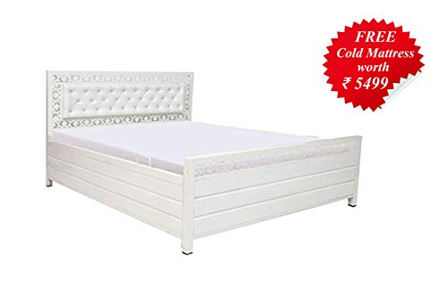 A1 Star Furniture King Size Metal Texture Finish Box Bed with Foam Mattress and Hydraulic Storage (Ivory)