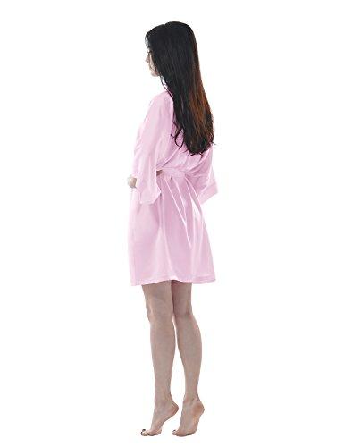 Remedios Damen Morgenmantel Bademantel Kurz Kimono Robe Dessous Babydoll Nachtwäsche Rosa