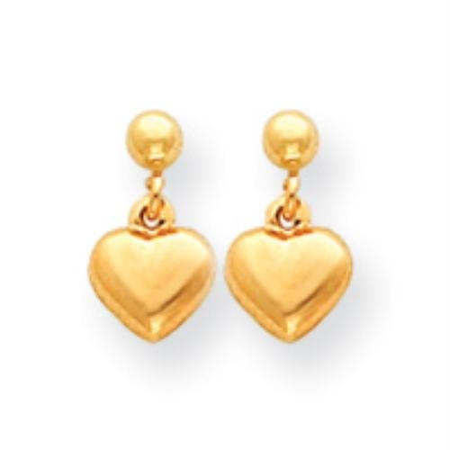 Kinder- Ohrringe Schmuck Gelb Aufgeblasen Dangle Herz MADI Gold 14k K. - Mädchen Aufgeblasen
