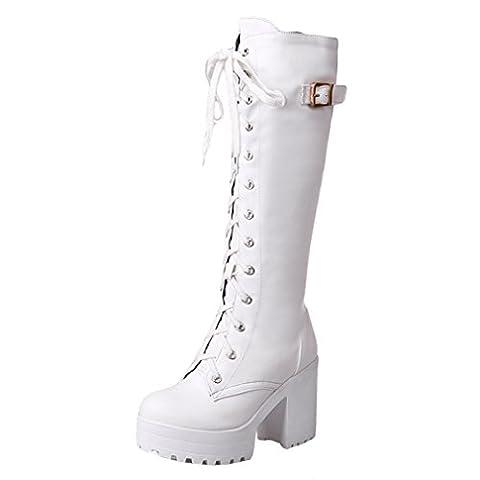 ENMAYER Womens White PU Casual Platform Round toe Lace up Block Heel High Heel Knee High Boots Party Dress Boots 7.5B(M) UK