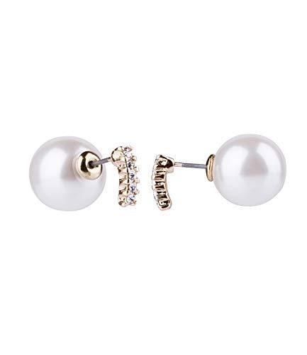 TOSH Ohrschmuck, Front-Back Perlen Ohrring, mit Metallstab, besetzt mit Strasssteinen, gold (725-497)