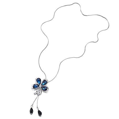 iMETACLII Lange Kette Statement Halsketten Quaste mit Strass Blau Kristall Schmetterling Anhänger,...