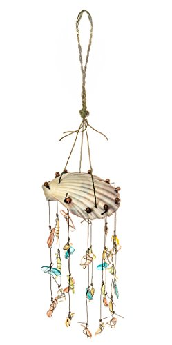 Nautisches Crush Trading Scallop Top W/Sortiert Sea Glass Drop Wind Chime | Zum Aufhängen Shell Wind Chime | Beach Windspiel für Dekoration Shell Drop