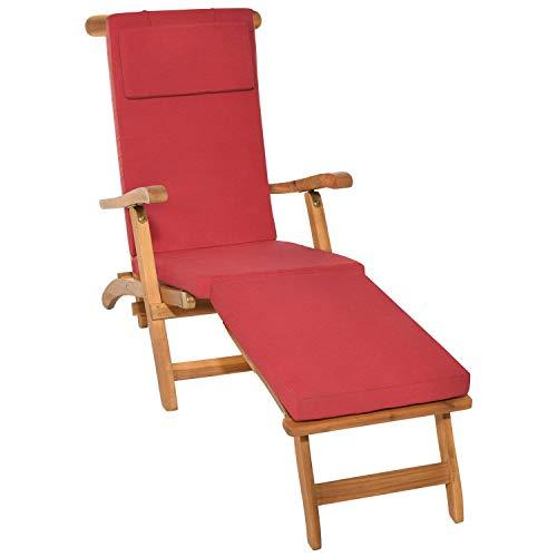 beautissu cuscino per sedia a sdraio loftlux dc 175x45x5cm - cuscino sfoderabile per sedie e poltrone da giardino - rosso