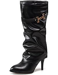 Odomolor Damen Ziehen auf Mitte-Spitze PU Leder Spitz Zehe Stiletto Stiefel, Schwarz, 38