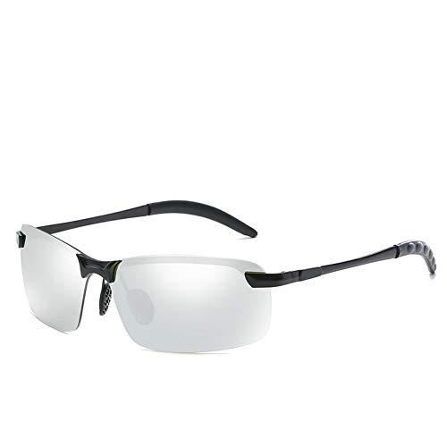 Sporting Outdoor TAC Sonnencreme UV400 Metall Polarisationslicht Sonnenbrille Nachtversion Tag und Nacht für Herren Sonnenbrillen und flacher Spiegel ( Color : Matte black+white mercury )