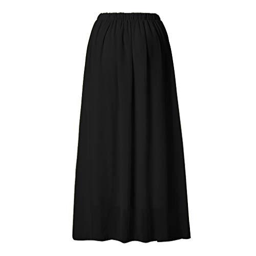 Fenverk Damen Elegant Hohe Bund A-Linie Bleistiftrock Boho Vintage High Waist Eng Minirock Lang Chiffon Kleid Double-Layer Gefaltet Strand(Schwarz,XL) (Gefaltet Bund)