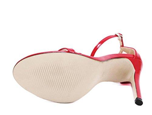 YCMDM Femmes D'été Mode Classique Word Boucle Sandales Poissons Bouche Hauts Talons Red