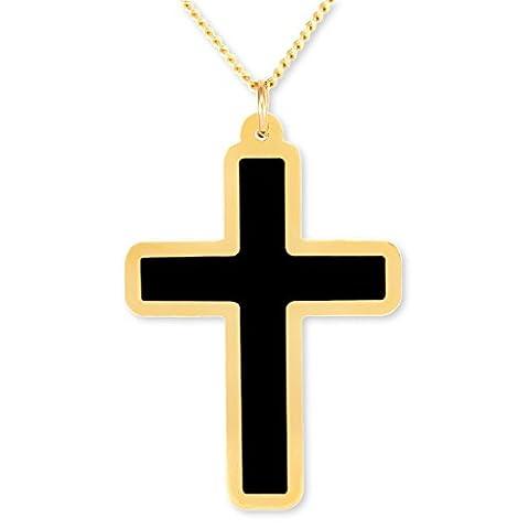 Nanostyle - Pendentif Croix Chrétienne Noir - Bijoux religieux plaqué Or - Cadeau de première communion