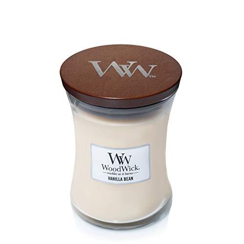 Mittelgroße WoodWick Duftkerze im Sanduhrglas, Vanilla Bean -