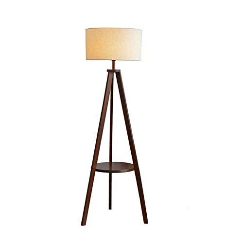 Lámpara de pie moderna trípode nogal madera piso luz blanca tela ...