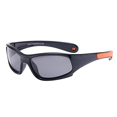 131a2b960c WHCREAT Kids Wrap Sport Polarized Sunglasses Flexible Rubber Frame with Anti-slip  Band for Girls Boys Children Age 3-6 - Orange Black Frame Black Lens - Buy  ...
