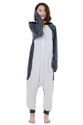 Pinguin Kostüm Jumpsuit Damen Tier Pyjamas Fasching Onesie Herren Karneval Cosplay (Glücklich Pinguin Kind Kostüme)