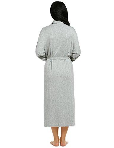 Ekouaer Donna scialle collo manica lunga Polka Dot/solido Lounge pigiameria Abito lungo con cintura Grigio