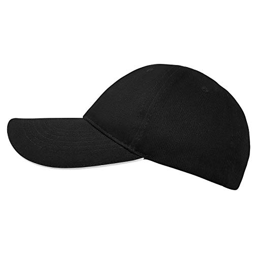 famvis Style Klassische Baseball Cap für Damen und Herren aus reiner Baumwolle, verstellbar, Basecap Kappe Mütze Hut schwarz (Schwarze Baseball-mütze-verstellbar)