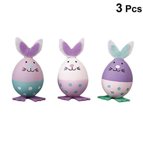 Schimer 3 Stück Häschen Kunststoff Simulation Kaninchen Ostereier Ornament Kinder DIY Malen Spielzeug Bunny Rabbit Ear für Ostern Party Dekoration Handwerk