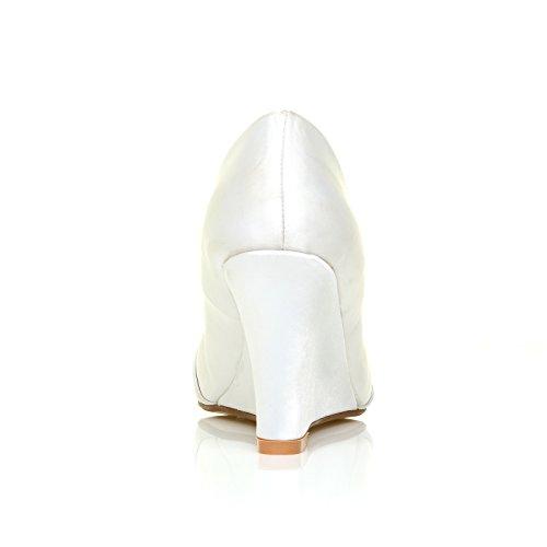 Scarpe con Zeppa Alta, Decolete Da Damigella, Raso Bianco - Eden Raso Bianco