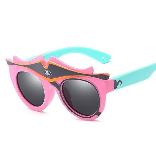 Easy Go Shopping Karikatur-Baby-dekorative Silikon-Sonnenschutz-Sonnenbrille-Kinder polarisierte Sonnenbrille Sonnenbrillen und Flacher Spiegel (Color : Rosa, Size : Kostenlos)