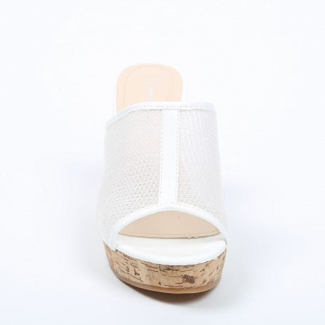 Ideal Shoes - Mules compensées effet mesh Taissie Blanc