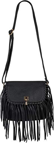 styleBREAKER Damen Umhängetasche mit Fransen und Steckverschluss, Schultertasche, Fringe Bag, Crossbody Bag 02012300, Farbe:Schwarz