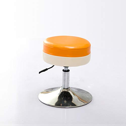 QTKK Faux Leder-bar-Stuhl,Pu-Computer-hocker für büro kreative hocker atmungsaktiv Sofa hocker Fußbank Einfache runde hocker-orange 33x45.5x38cm(13x18x15inch) (Faux-leder-stühle)