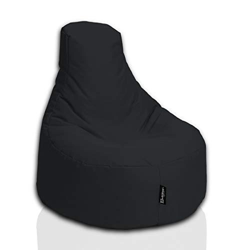 BuBiBag Gamer Sitzsack Sitzkissen Sitzmöbel Beanbag Sitz-Kissen für Kinder Junior (Schwarz)