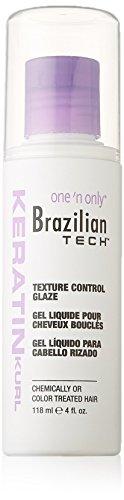 Gel liquide Brazilian Tech Keratin Kurl pour cheveux bouclés - Tenue légère - Pour cheveux traités chimiquement ou colorés - 118 ml