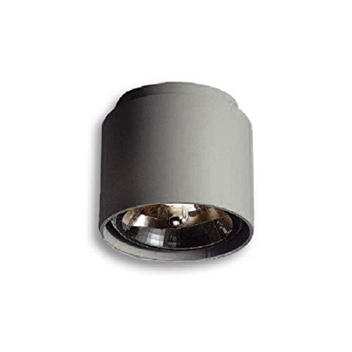 Lampenlux QR111 - Lámpara de techo (50 W, 230 V, hierro fundido, con bombilla), color gris