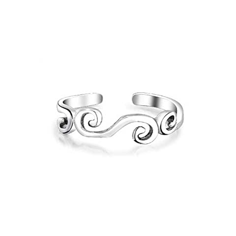 Sterling Silver Swirl Midi Ring Adjustable Scroll Toe Rings with Engraving