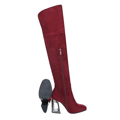 Overknees Damenschuhe Overknees Pump High Heels Reißverschluss Ital-Design Stiefel Weinrot