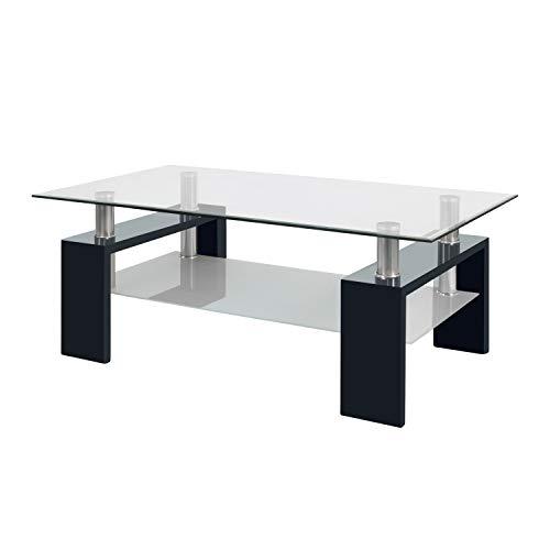 Due-home Mesa Centro Moderna de Cristal, Patas lacadas Color Negro, Medidas: 110 x 60 x 45 cm de Altura