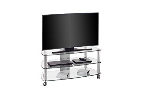 fernsehmoebel glas Maja Möbel TV-Rack, Glas, Metall Alu-Klarglas, 110,00 x 50,80 x 50,60 cm