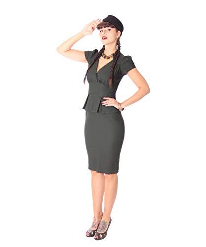 SugarShock Damen Schößchen Pencil Kleid Penelope, Größe:L, Farbe:Oliv -