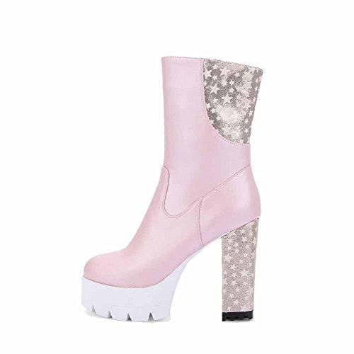 AllhqFashion Damen Pu Mitte-Spitze Gemischte Farbe Reißverschluss Hoher Absatz Stiefel Pink