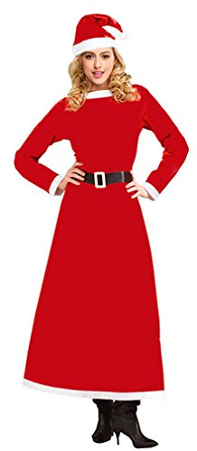 t Mrs Santa Claus Costume Ankle Length Christmas Outfit Velvet Maxi Dress with Christmas Hat Red One-Size (Mrs Christmas Outfit)