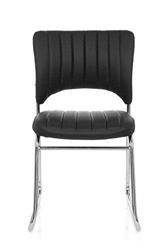 sucherstuhl CASPI V Kunst-Leder Schwarz Konferenz-Stuhl Kufengestell Rücken-Lehne Warte-Zimmer Büro ()
