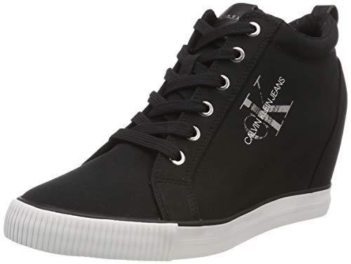 Calvin Klein Jeans Damen Ritzy Nylon Hohe Sneaker, Schwarz (Black 000), 41 EU Nylon Wedges
