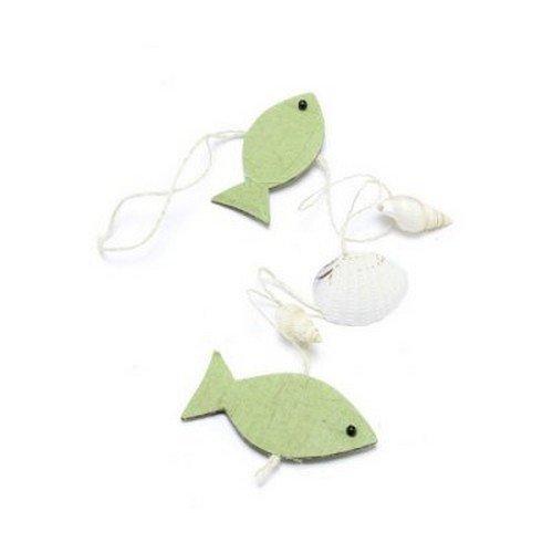 Au plaisir des yeux - 1 Guirlande mer poissons vert anis et coquillages
